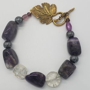 Raw Polished Amethyst & Hematite Bracelet